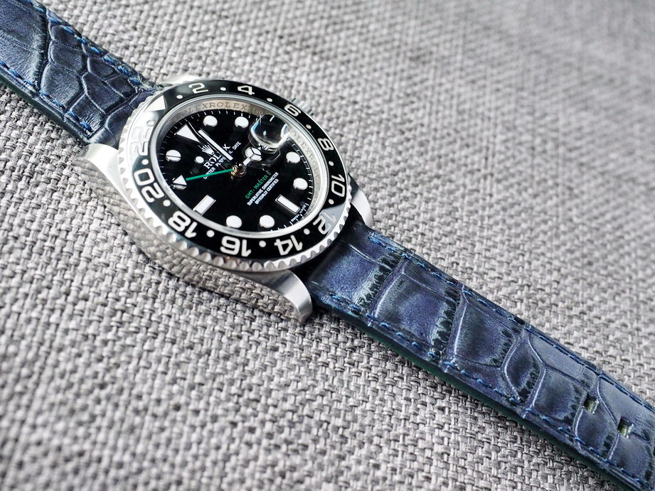 Ted Su two tone Blue Black Alligator Strap Ready to ship
