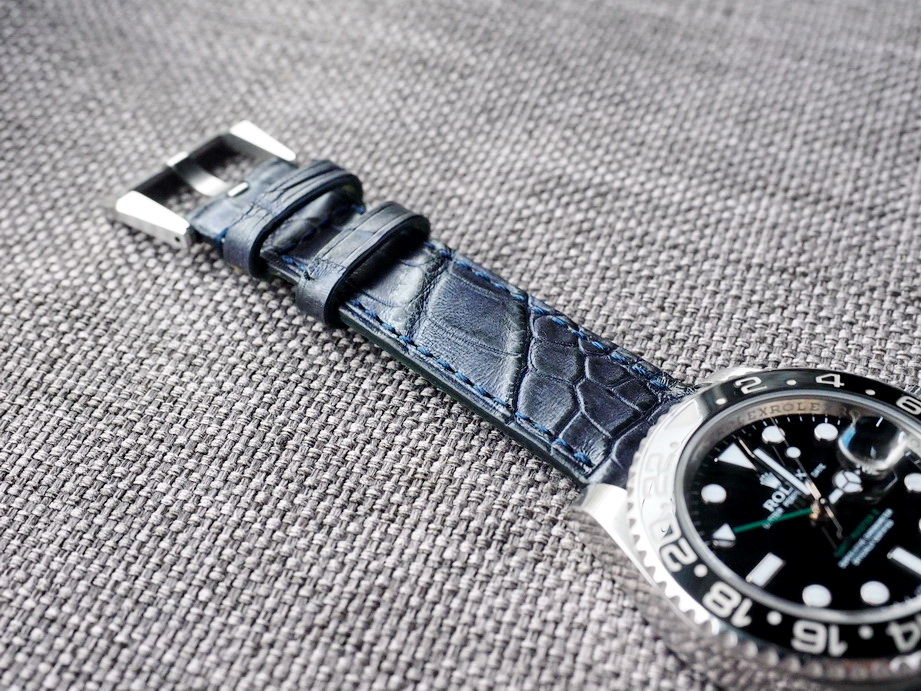 Ted Su two tone Blue Black alligator strap for Rolex