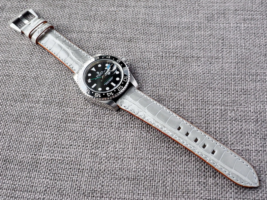 Ted Su Gloss Gray Alligator Strap Ready to ship