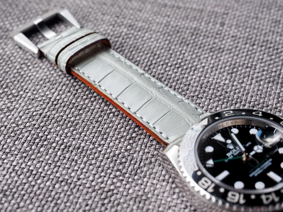 Ted Su Harbour Gray alligator strap for Rolex