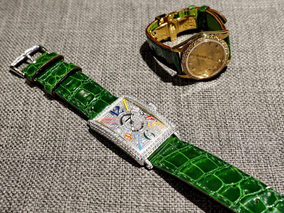 Ted Su Gloss Green Alligator Strap custom made to your specifications