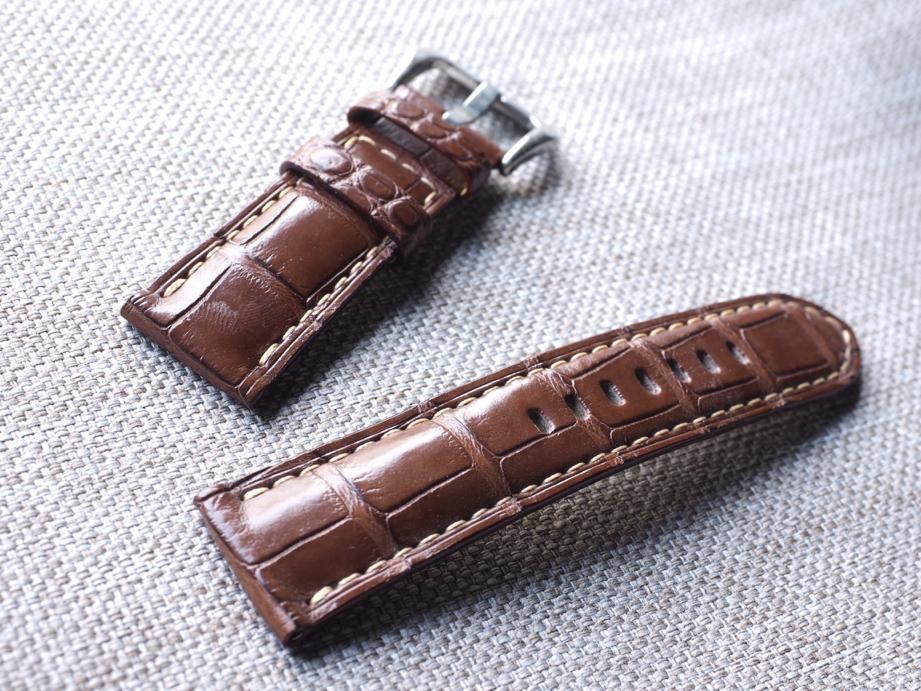 Ted Su grade A brown alligator straps for Panerai and all brands