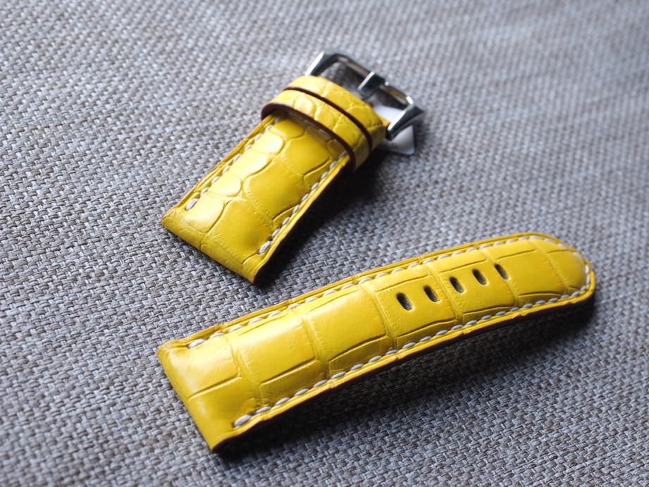 Ted Su Grade A yellow Alligator strap for Panerai and all brands