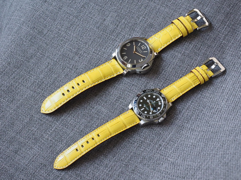 Ted Su lime yellow grade A alligator strap