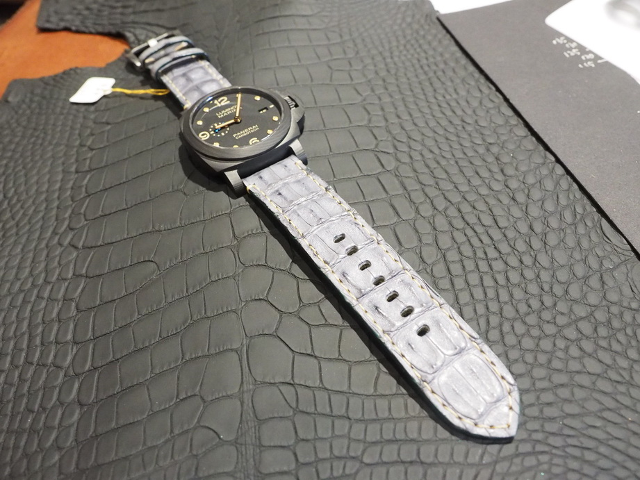 Ted Su grade A Matte black alligator straps for Panerai and all brands