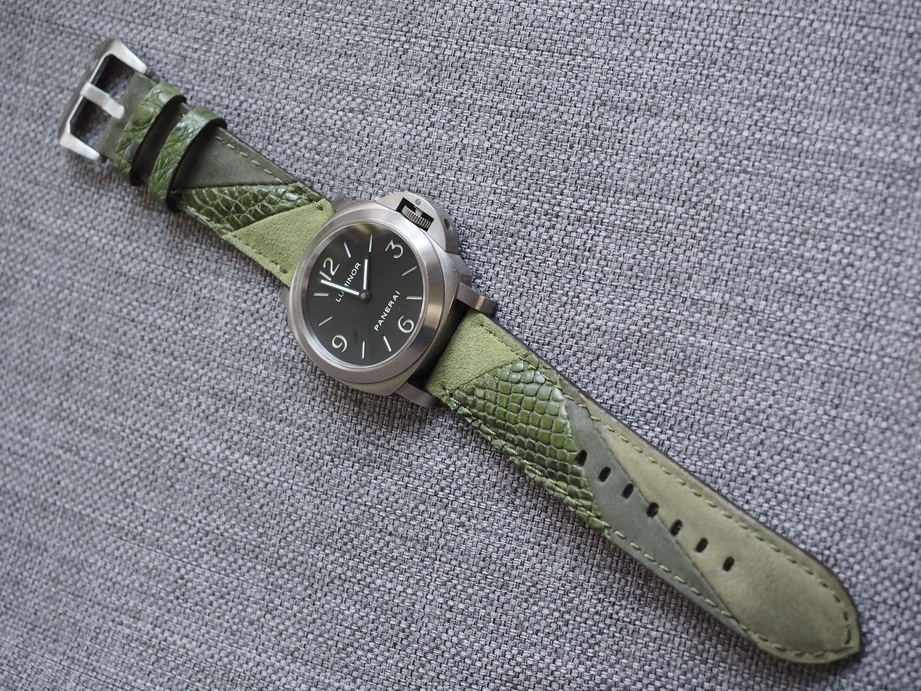 Ted Su hybrid strap for Panerai.  Made by sewing alligator, alcantara and nubuck together.