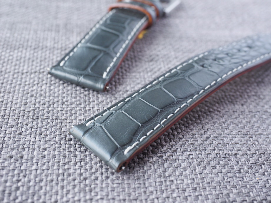 21mm Dark Gray Alligator strap for Rolex Omega IWC