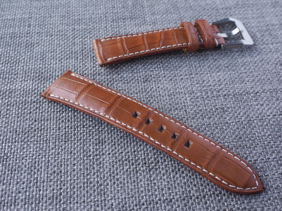 21mm Medium Brown Alligator strap for Rolex Omega IWC