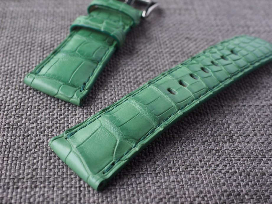 26mm Light Green Alligator Strap.  Ready to ship.