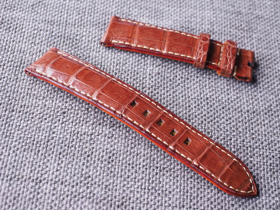20mm Dark brown Caiman croc belly strap ready to ship