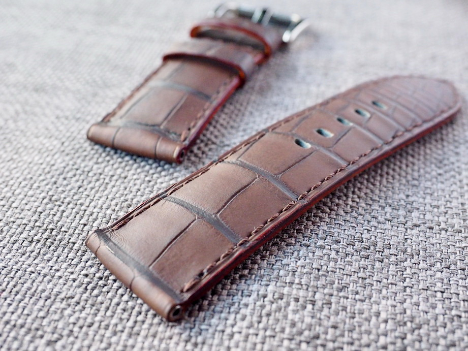 26mm Matte Brown Alligator Strap Ready to ship