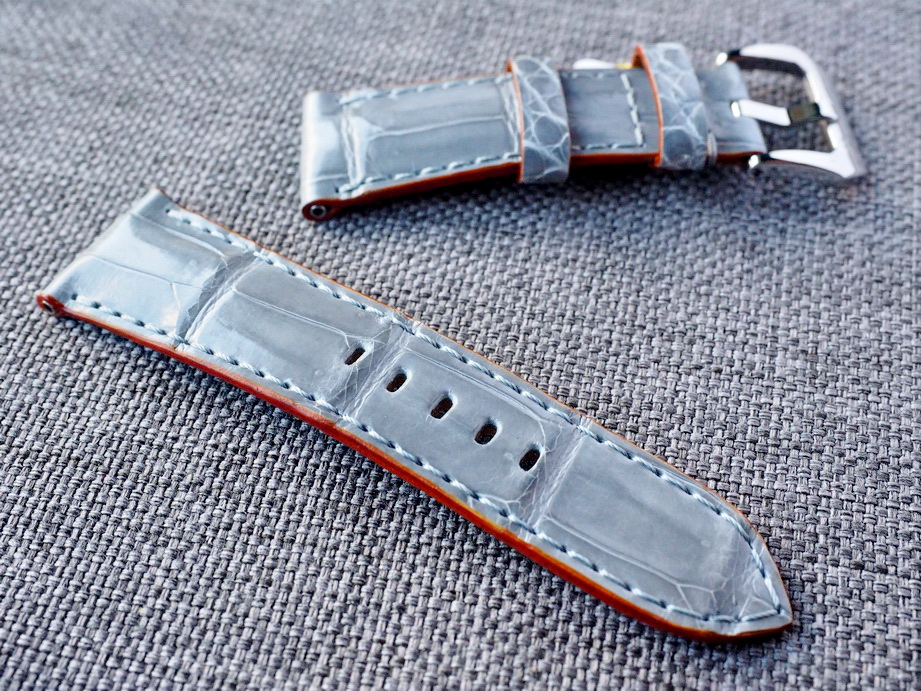 26mm Gloss Gray Alligator Strap Ready to ship