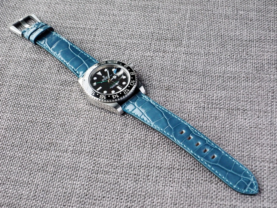 Cerulean Blue Alligator Strap for Rolex  20/18 75/115 Ready to ship