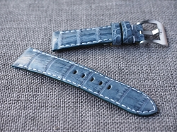 Prussian Blue Caiman Croc Belly Strap 22/20 75/115- Ready to ship
