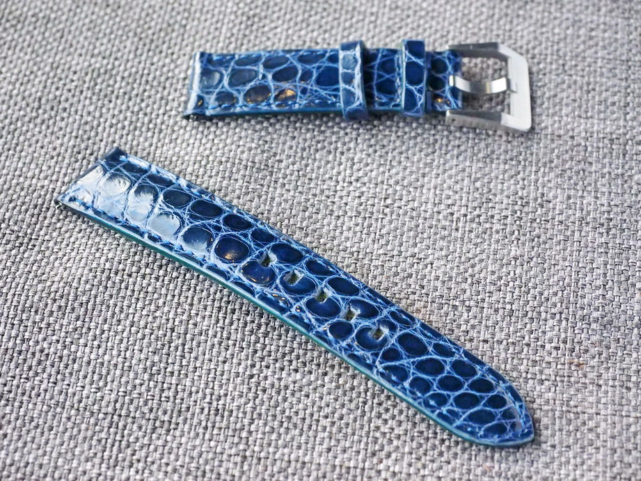 20mm Gloss Blue Alligator Strap  20/18 65/115 Ready to ship