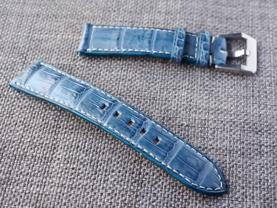 20mm Prussian Blue Croc Belly Strap  20/18 75/115 Ready to ship