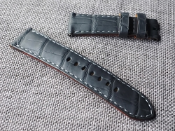 24mm Matte Black Alligator Strap  24/22 75/125- Ready to ship