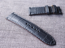 24mm Matte Black Alligator Strap  24/22 75/115- Ready to ship