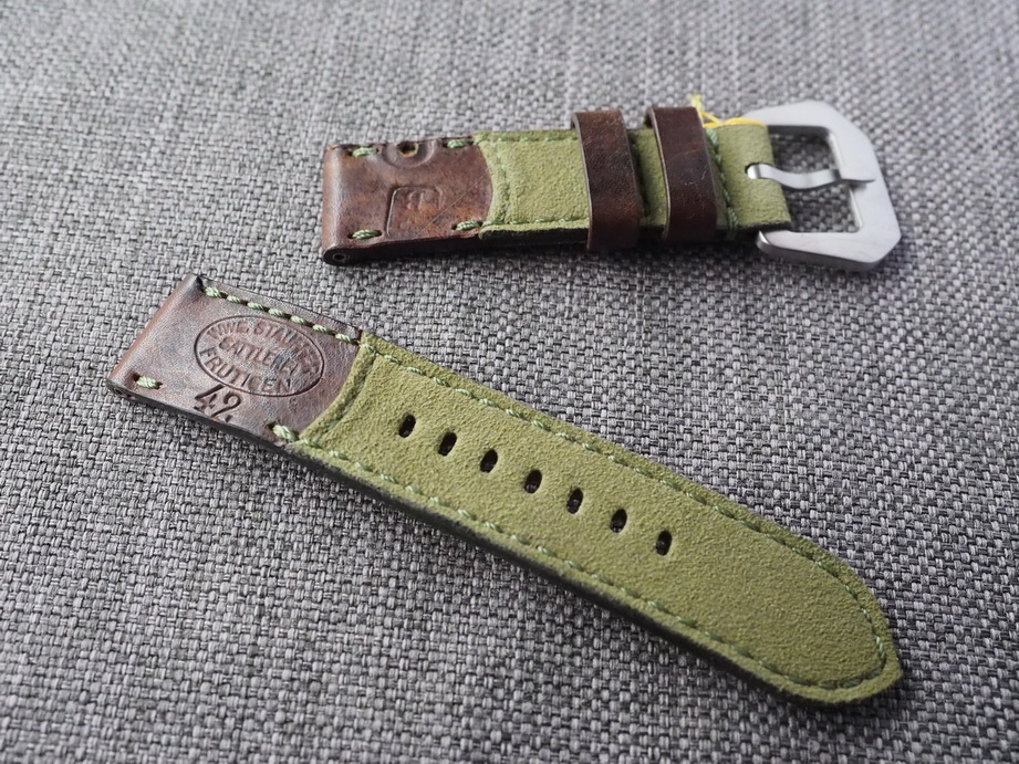 Ted Su Swiss ammo Alcantara Hybrid Strap for 44mm Panerai  24mm Dated 1942