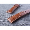 Ted Su Medium Brown Alligator Strap 21/18 75/115. Fits Rolex Omega IWC
